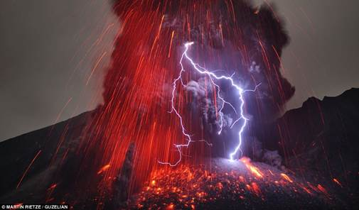 Image result for Lightning flashes volcano