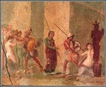 During the Trojan War, Cassandra, the daughter of King Priam of Troy, was attacked by Ajax the Lesser in the Temple of Athena. The scene is illustrated in this painting from a house in Italy.